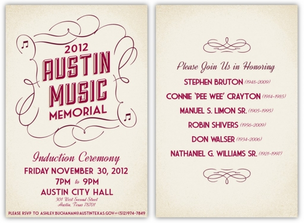 Invitation Program for the 2012 Austin Music Memorial Induction